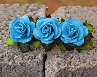 Turquoise Rose Flower Barrette - Flower Hair Clip, Floral Hair Clip, Blue Flower French Barrette, French Barrettes, Flower Girl Barrette
