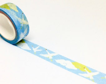 Cranes and Clouds Washi Tape - Masking Tape Birds Chinese Waves