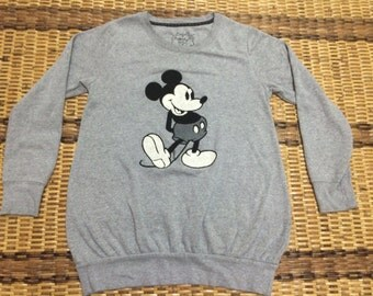 Vintage 90's Mickey Mouse Walt Disney Tokyo Disneyland Cartoon Classic Design Skate Sweat Shirt Sweater Varsity Jacket Size L #A630