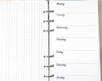 Personal Size UNDATED Horizontal Week on One Page, WO1P, Horizontal Layout Inserts for Ringbound Planners