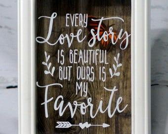 Love Story Shadow Box, Inspirational, Bridal Shower Gift, Wedding Gift, Office Decor, Wall Decor, Wood Shadow Box, Love Gift