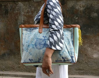Tote - Rectangular tote bag handmade with leather and cotton block print fabrics.