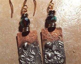 Copper silver stamped earrings