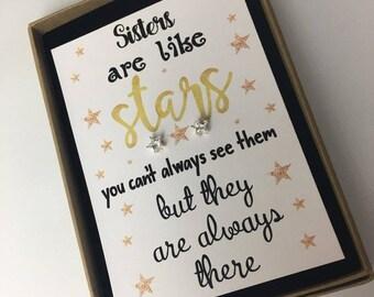 Sister are Like Stars / Earrings / Jewellery Gift / Birthday Gift Present / Gift for sister / Gift for her / Free UK P&P