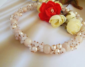 Jewelry Necklace -choker rose quartz and freshwater pearls Jewelry handmade Choker necklaces Necklace beaded