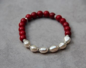 Coral and freshwater pearls bracelet
