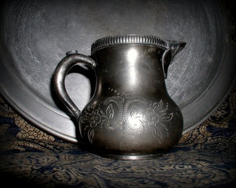Antique Quadruple Plate Silver Hollowware Creamer Forbes Silver Co. Cream Pitcher Farmhouse Kitchen Tabletop Serving