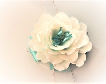 Ivory wrist corsage Flower with turquoise core  Flower accessory Flower bracelet Ivory flower corsage
