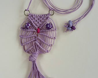 Adore the Cloth: Macrame Owl Necklace Waxed Cotton Lavender 1*