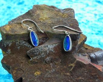 Blue opal earrings (092)