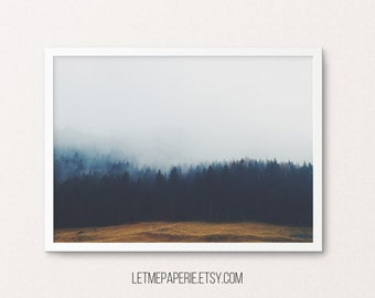 Forest print, forest poster, forest landscape, forest printable, fog forest, tree, forest photo, forest wall art, printable art, photography