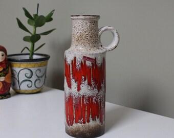 Scheurich: Vintage West German Fat Lava Vase 401-28 with Lora Zig Zag Decor in Cream and Red - UK Seller