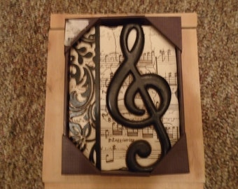 New View Studio Music Staff framed wall plaque
