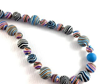 Handcrafted polymer clay super long necklace- multicoloured stripes