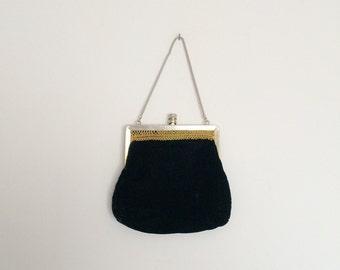 1960s Black Velvet Evening Purse Clutch Bag Vintage