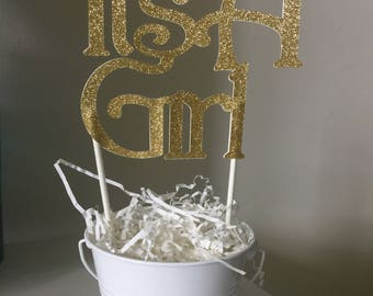 Its a girl caketopper . Baby shower decor . Silver or gold glitter cake topper. Gender reveal party