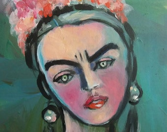 Painting, Frida, Woman with flower crown, Frau malerei, Portrait, small painting with flowers, sad woman, Blumen