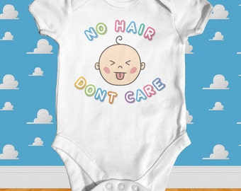 No Hair Dont Care Baby Bodysuit | Funny Baby Bodysuit | Cute Baby Clothes | Slogan Baby Bodysuit | Newborn Baby Bodysuit | Baby Shower Gift