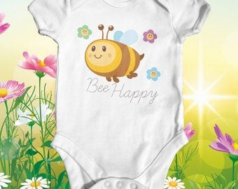 Bee Happy Baby Bodysuit | Animal Baby Bodysuit | Funny Baby Bodysuit | Cute Baby Clothes | Newborn Baby Clothes | Baby Shower Gift |