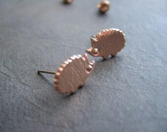 Rose gold plated hedgehog earrings, cute rose gold hedgehog, small hedgehog studs, tiny rose gold plated animal earring, gift for girls