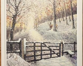 Mounted and framed Winter print, 20''x16'' framed, Winter Morn by Liz Scott
