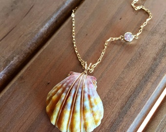 Sunrise Shell with Cubic Zirconia Accent Necklace