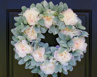 Lamb's Ear Wreath, Peony Wreath, Wedding Wreath, Pink Peony Wreath, Spring Wreath, Summer Wreath, Front Door Wreath, Wreath