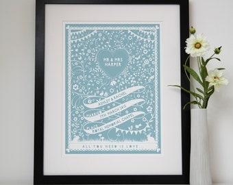 Personalised Ribbon Wedding and Anniversary print