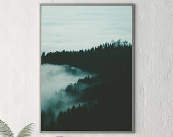 Landscape, Landscape Print, Abstract Landscape, Foggy Landscape, Forest Print, Forest Poster, Forest Fog, Clouds, Forest Art Print, 180