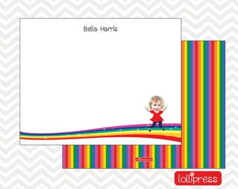 Rainbow Note Cards, Rainbow Thank You Notes, Rainbow Stationery, Personalized Note Cards, Custom Note Cards, Personalized Stationery