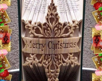 Merry Christmas Snowflake Book Folding Art Pattern unusual unique gift