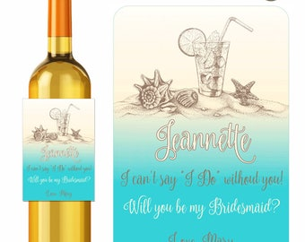 Custom Wine Labels Summer Sand Starfish Shells and Cocktails Will You Be My Bridesmaid Maid of Honor Personalized Stickers