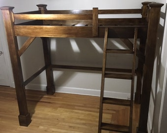 Craftsman Style Post and Beam Heirloom Loft or Bunk Bed Twin Queen Full Wood Riser Bed