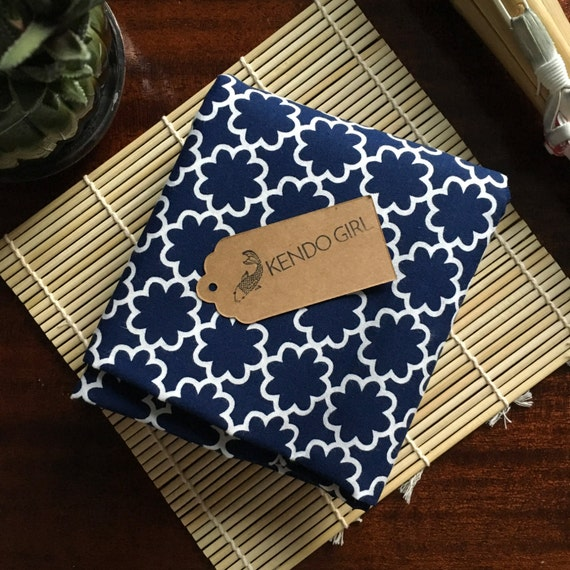 Furoshiki Gift Wrapping Cloth - Japanese Cotton Furoshiki -  Navy Blue Floral Design by Kendo Girl