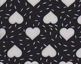White - Hearts - Navy - Double brushed - Poly Lycra - stretch - knit - fabric - four way stretch