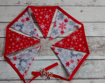 Christmas bunting, fireplace bunting, stag bunting, Christmas garland, wall decor, fireside garland, stag garland, bunting flags