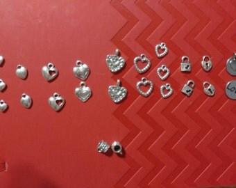 Heart Charms / Hanger bail