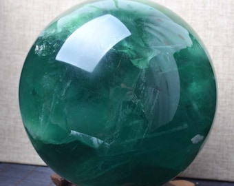 "6.22""Natural Extra Large Green Fluorite Sphere/Rainbow Fluorite Ball/Colorful Rocks/Healing Stone/Calming/Reiki/Wicca/Chakra/Zen-158mm 6100g"