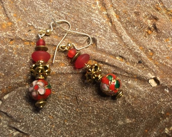 Cloisonne Chinese Style Earring, Vintage Style, 14K Gold, Prom Earring, Mother Jewelry, Grandmother, Asian Style, Brass, Cherry Red, Flower