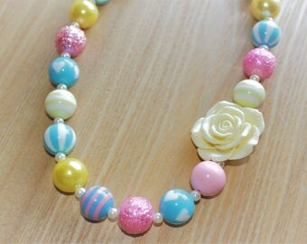 Pale Yellow Flower Pendant with Blue and Pink Accents Chunky Bead Necklace