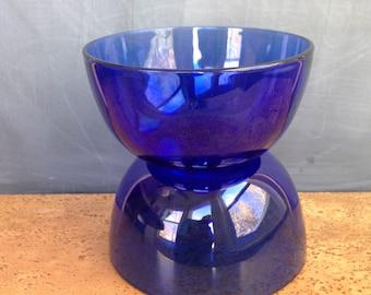 Vintage Cobalt Blue Glass Bowls set of Two (2), Clear Cobalt Blue Glass bowls large salad, cereal bowls, large blue glass bowls, blue bowls