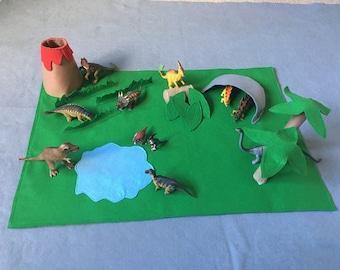 Adventure playmat, Imaginative playmat, felt playscape, dinosaur playscape, dinosaur playmat, dinosaur landscape, kids gift, creative play