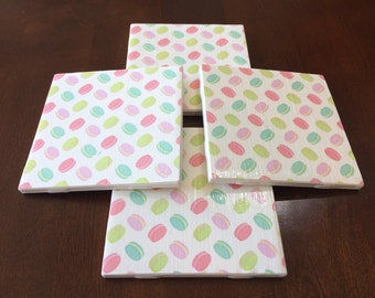 Coasters, Macaroons Coasters, Colorful Coasters, Decorative Coasters, Set of 4 Coasters, Tile Coasters, Drink Coasters, Ceramic Coasters