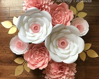 8 Piece Paper Flower Set, Bridal Decor, Wedding Decor, Large Paper Flowers.