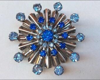 Star Brooch, Vintage Starburst Brooch, Vintage Pin, Vintage Star Brooch, Starburst Pin, Blue Rhinestone Brooch, Crystal Brooch, Boho Brooch