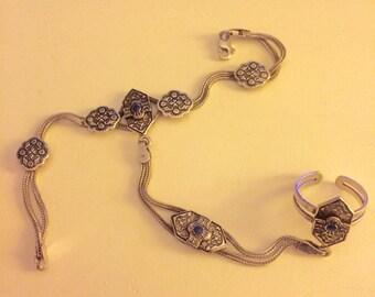 Vintage Jewellery, Solid Silver & Lapis Lazuli Slave Bracelet, Vintage Bracelet, Vintage Ring, Bohemian Jewellery, Silver, Vintage Jewelry