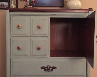 SOLD-  Refinished Dresser & Nightstand: Annie Sloan Duck Egg Blue
