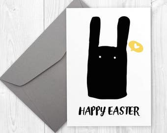 Happy Easter printable card with bunny / Minimalist HAPPY EASTER card / Easter Greetings with bunny / Cute Easter Bunny printable card