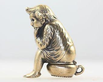 Antique Brass Vesta Match Safe Case of Child on Potty