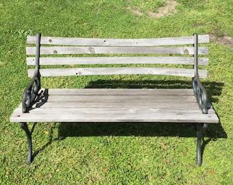 Antique Or Vintage Park Garden BENCH Cast Iron Sides Wood Slats Antique  Seat Park Seat